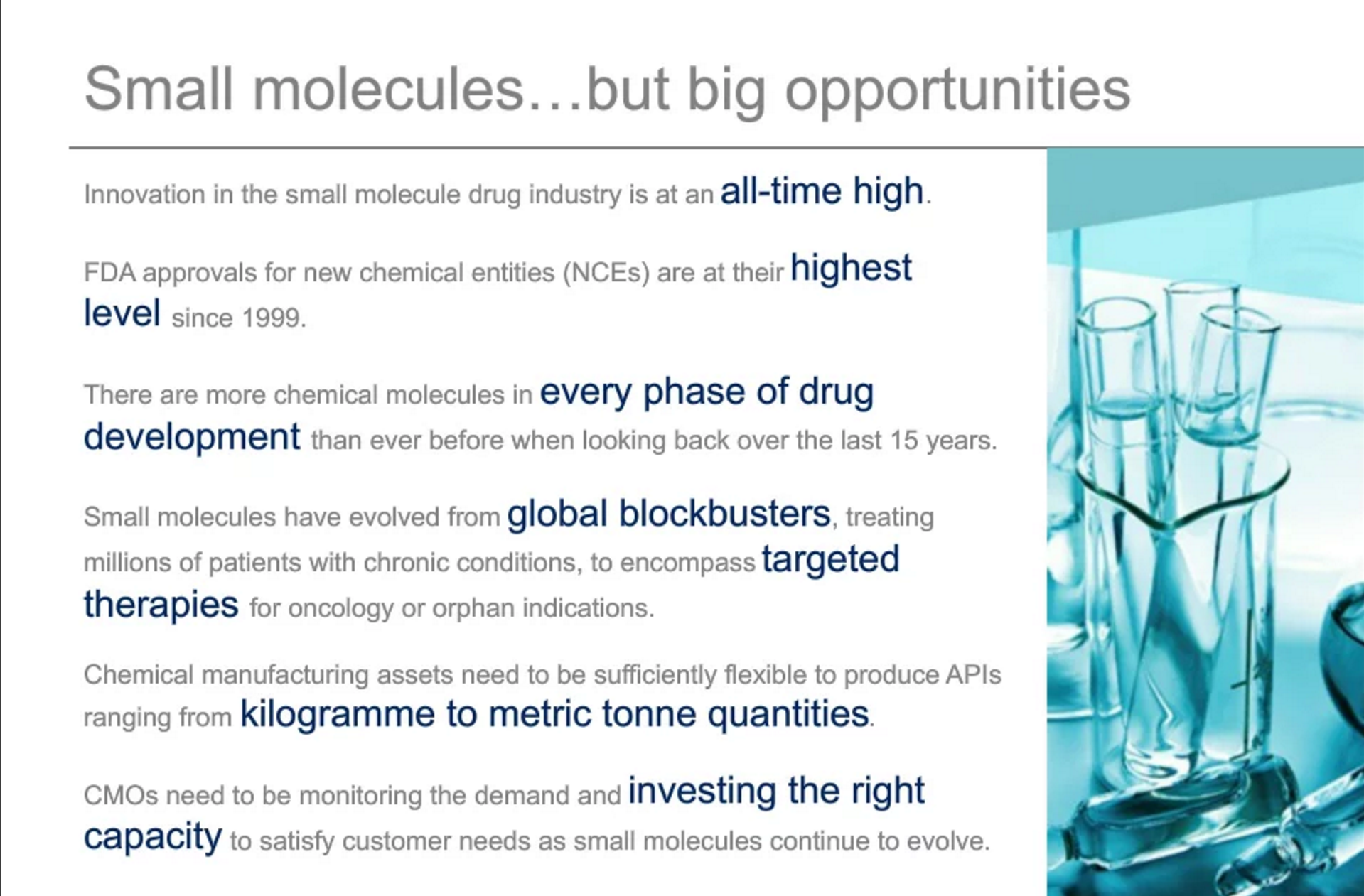 Small molecules big opportunities